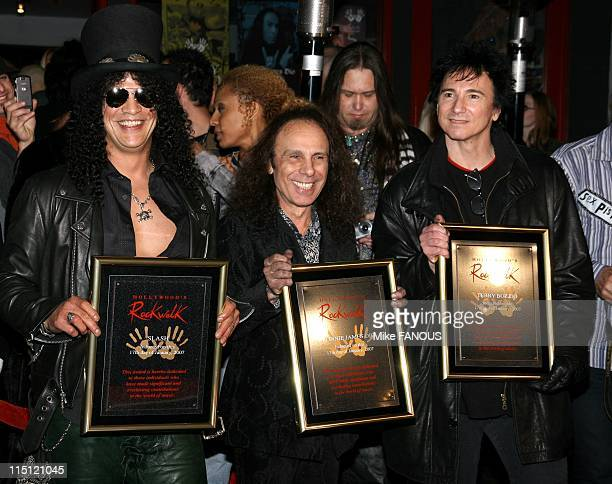 Slash Ronnie James Dio and Terry Bozzio inducted into Hollywood's Rock Walk at Guitar Center in Hollywood United States on january 17 2007