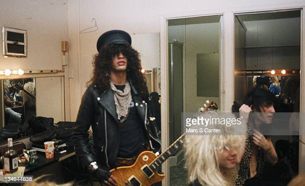 Slash Steven Adler and Izzy Stradlin of the rock group 'Guns n' Roses' backstage before a sold out show at the Roxy Theatre on January 18 1986 in Los...