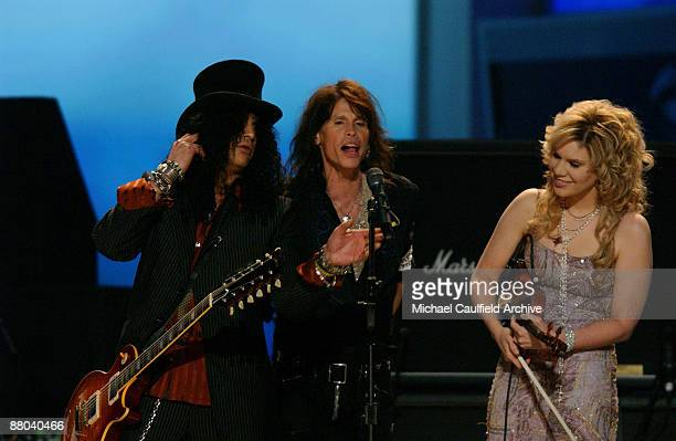 Slash Steven Tyler and Alison Krauss perform Across The Universe for the Tsunami Relief performance Photo by M Caulfield/WireImage for The Recording...