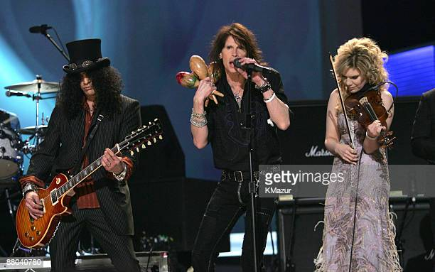 Slash Steven Tyler and Alison Krauss perform Across the Universe for the Tsunami Relief performance Photo by KMazur/WireImage for The Recording...