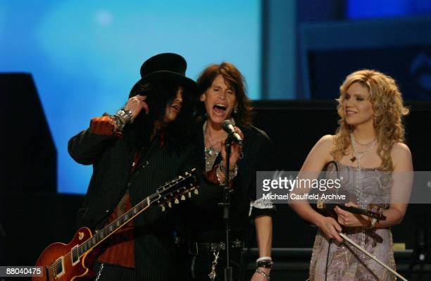 Slash Steven Tyler and Alison Krauss perform Across The Universe the Tsunami Relief performance Photo by M Caulfield/WireImage for The Recording...
