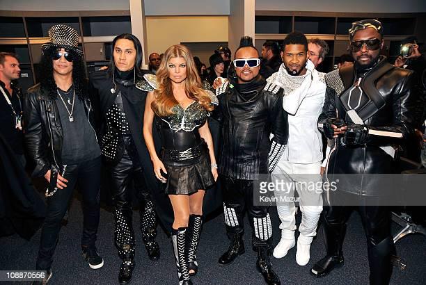 Slash, Taboo, Fergie, apl.de.ap, Usher and will.i.am attend the Bridgestone Super Bowl XLV Halftime Show at Dallas Cowboys Stadium on February 6,...