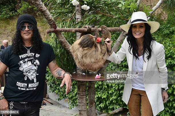Slash The Sloth Charlie Dalton Shenanigans and Meegan Hodges attend The Greater Los Angeles Zoo Association's 46th Annual Beastly Ball at Los Angeles...