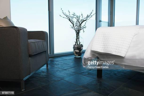 Slate tiled bedroom