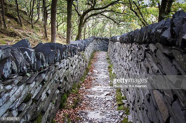 Slate walled path near Llanberis