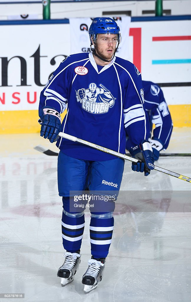 Slater Koekkoek #65 of the Syracuse Crunch skates in warmup prior to a game against the Toronto Marlies on January 3, 2016 at Ricoh Coliseum in Toronto, Ontario, Canada.