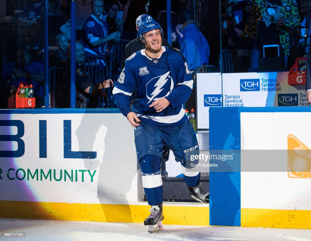 Slater Koekkoek #29 of the Tampa Bay Lightning celebrates the win against the Pittsburgh Penguins at Amalie Arena on October 12, 2017 in Tampa, Florida.