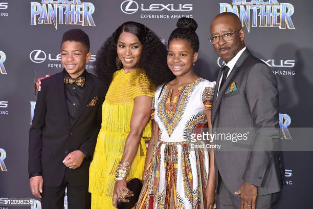 Slater Vance Angela Bassett Bronwyn Vance and Courtney B Vance attend the Premiere Of Disney And Marvel's Black Panther Arrivals on January 29 2018...
