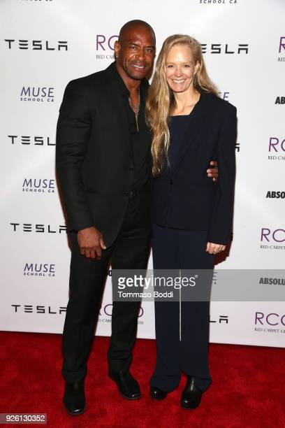 T J Slaughter and Suzy Amis Cameron attend the Suzy Amis Cameron Hosts The Red Carpet Green Dress 9th Annual PreOscars Celebration at Private...