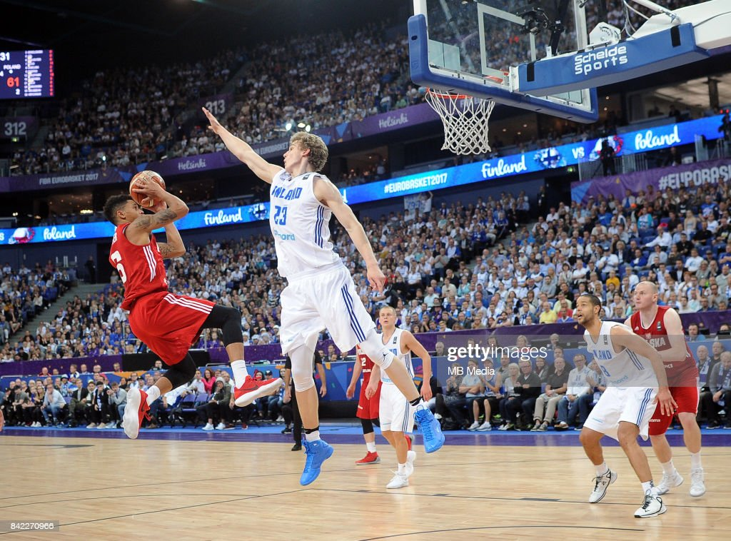A.J. Slaughter of Poland, Lauri Markkanen of Finland during the FIBA Eurobasket 2017 Group A match between Finland and Poland on September 3, 2017 in Helsinki, Finland.