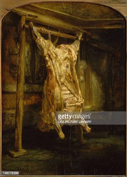 Slaughtered ox by Rembrandt oil on panel 94x69 cm Paris Musée Du Louvre