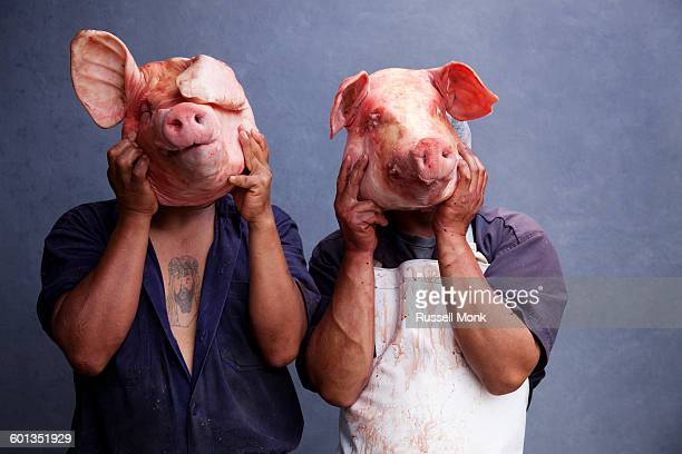 slaughterhouse workers - ugly pig stock pictures, royalty-free photos & images