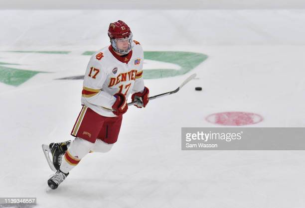 Slava Demin of the Denver Pioneers warms up before an NCAA Division I Men's Ice Hockey West Regional Championship Semifinal game between the Ohio...
