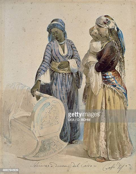 Slave and woman of Cairo watercolour drawing by Ippolito Caffi