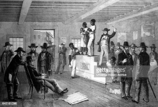 Slave auctioning in Virginia 1861. The auction was held in Richmond, Virginia at the beginning of the Civil War. This African American family must...