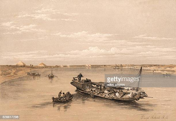 Slave boat on the nile Ca 1845 Lithography by David Roberts