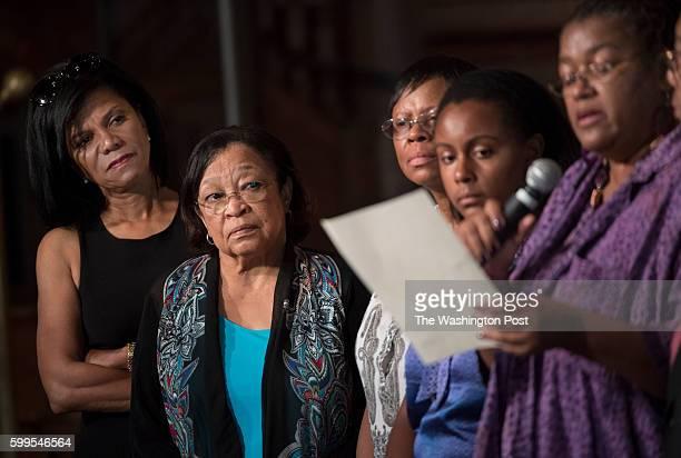 Slave descendants Sandra Green Thomas Patricia BayonneJohnson Zeita Kemp Melissa Kemp and Karran Harper Royal speak at Georgetown University at a...