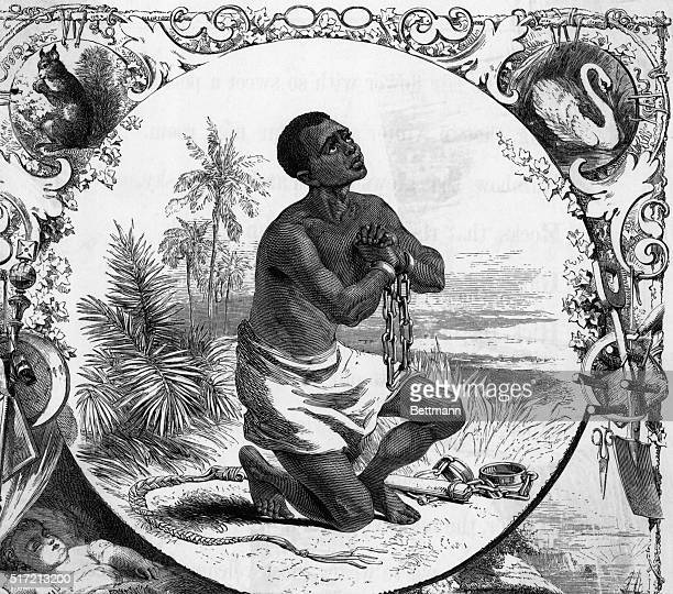 Slave in chains on knees praying Embellished border Undated engraving
