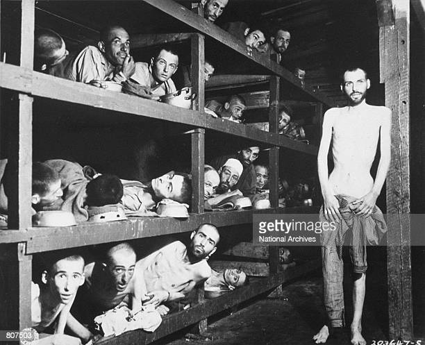 Slave laborers in their bunks at Buchenwald concentration camp near Weimar Germany after liberation April 16 1945 Many had died from malnutrition...