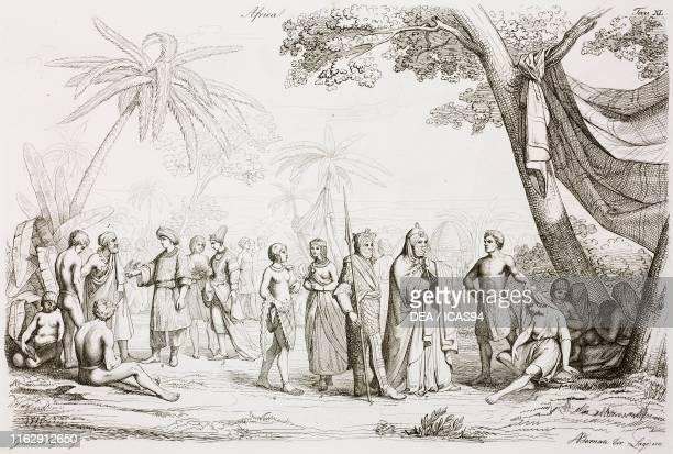 Mandingo seller King of Boussa high status girl of Timbuktu girl of Kano Burnuese dame Berber buyer accompanied by a warrior group of slaves...