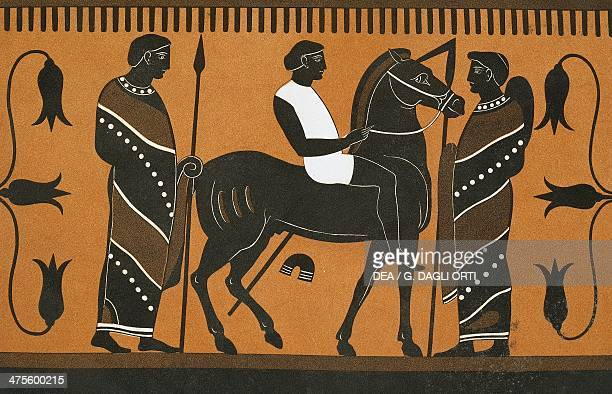 Slave on a horse illustration from Collection des vases grecs de le Comte de M Lamberg vol II Table 16 Paris from 1813 to 1824 by Alexandre de...