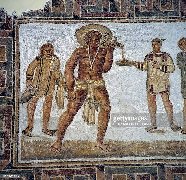 Slave pouring something to drink from the Butler's mosaic from Thugga Dougga Tunisia Roman civilisation 2dn century AD Tunis Musée National Du Bardo