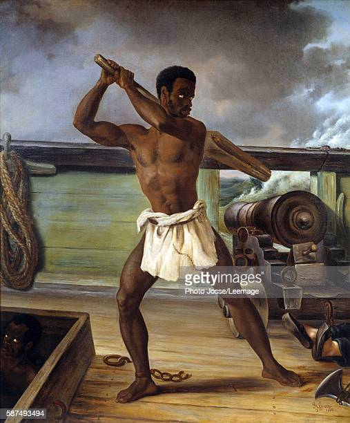 Slave rebellion on a slaveship West Indies Painting by Edouard Antoine Renard 1833 New World Museum La Rochelle France