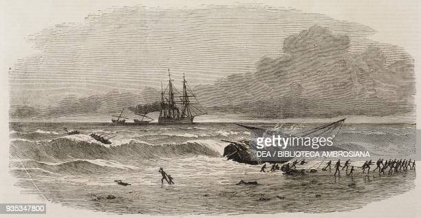 A slave ship aground on the shore to avoid capture by the British Navy Africa illustration from the magazine The Illustrated London News volume LIV...