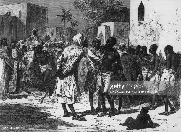 Slave trader in Zanzibar from a drawing by Emile Bayard engraving from The last journals of David Livingstone in Central Africa from 1865 to his...