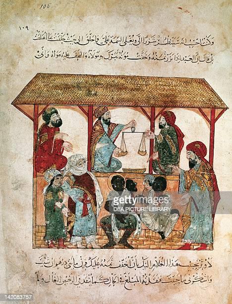 Slave traders Arabic miniature 12th Century