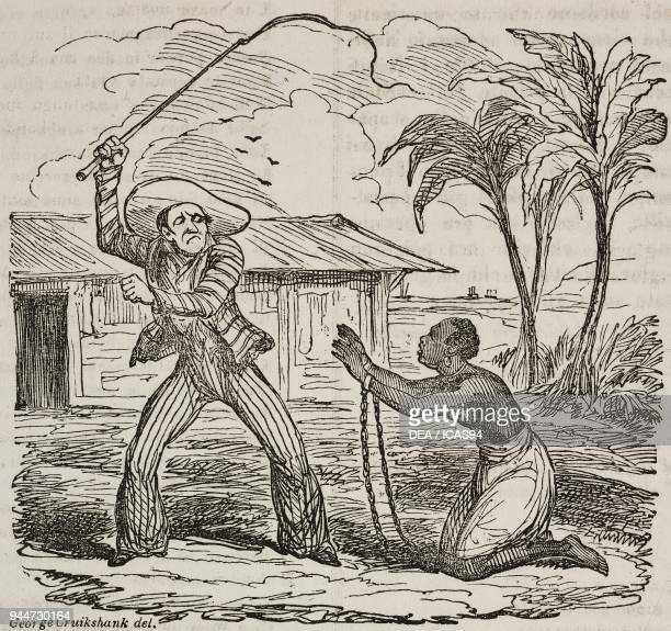 A slave whipped by a settler Jamaica illustration by George Cruikshank from Teatro universale Raccolta enciclopedica e scenografica No 595 December 6...