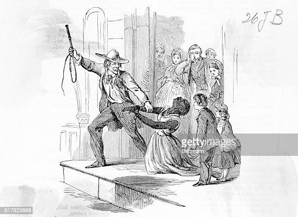 Slave woman being dragged away by slave dealer Abolitionist inspired propaganda picture showing the cruelty and inhumanity of the slave trade Undated