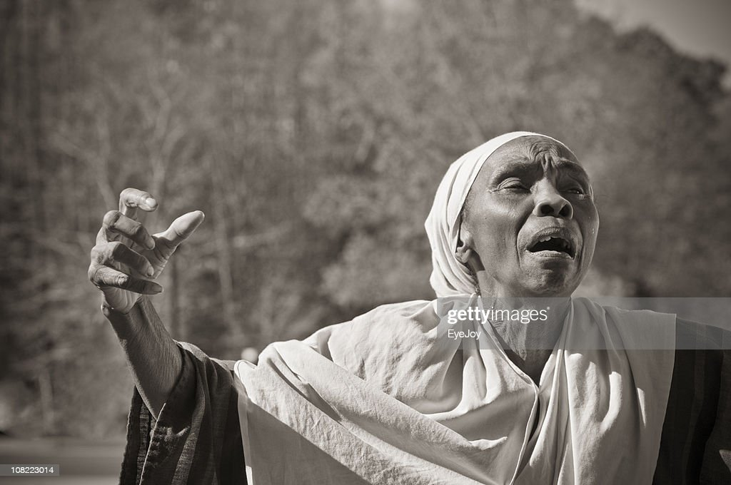 Slave Woman Prays Passionately : Stock Photo