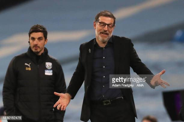 Slaven Bilic head coach / manager of West Bromwich Albion reacts during the Premier League match between Manchester City and West Bromwich Albion at...