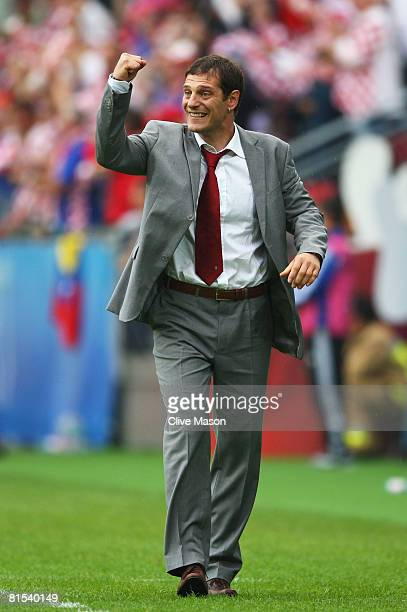 Slaven Bilic head coach of Croatia celebrates his teams goal during the UEFA EURO 2008 Group B match between Croatia and Germany at Worthersee...