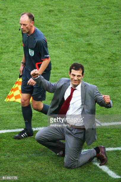Slaven Bilic head coach of Croatia celebrates victory after the UEFA EURO 2008 Group B match between Austria and Croatia at Ernst Happel Stadion on...