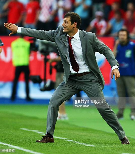 Slaven Bilic head coach of Croatia gives instructions during the UEFA EURO 2008 Group B match between Austria and Croatia at Ernst Happel Stadion on...