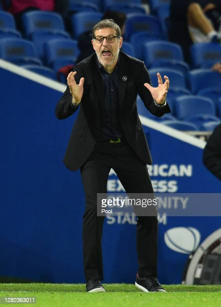 Slaven Bilic Manager of West Bromwich Albion gives his team instructions during the Premier League match between Brighton Hove Albion and West...