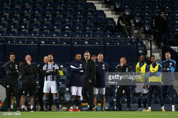 Slaven Bilic Manager of West Bromwich Albion looks on during the penalty shoot out during the Carabao Cup Third Round match between West Bromwich...