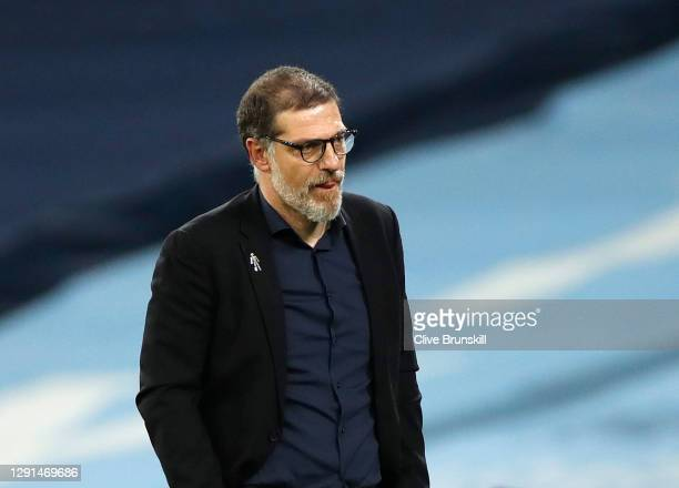 Slaven Bilic, Manager of West Bromwich Albion looks on during the Premier League match between Manchester City and West Bromwich Albion at Etihad...