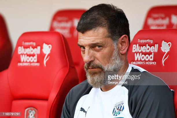 Slaven Bilic manager of West Bromwich Albion looks on prior to the Pre-Season Friendly between Rotherham United and West Bromwich Albion at AESSEAL...