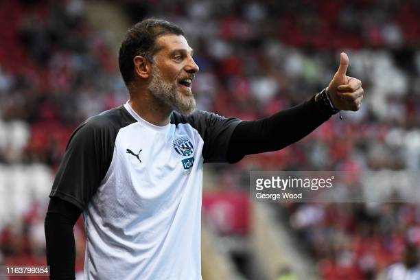 Slaven Bilic manager of West Bromwich Albion reacts during the Pre-Season Friendly between Rotherham United and West Bromwich Albion at AESSEAL New...