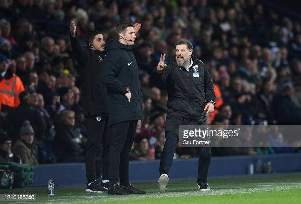 Slaven Bilic, Manager of West Bromwich Albion reacts to the fourth official during the FA Cup Fifth Round match between West Bromwich Albion and...