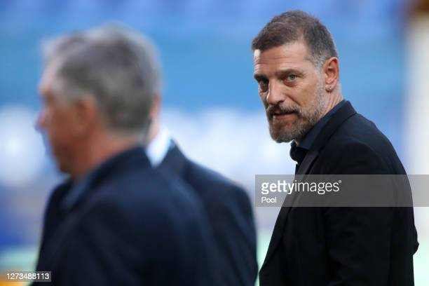 Slaven Bilic, Manager of West Bromwich Albion speaks to the media after the Premier League match between Everton and West Bromwich Albion at Goodison...