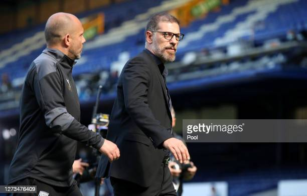 Slaven Bilic, Manager of West Bromwich Albion walks off the being after referee Mike Dean shows him the red card during the Premier League match...
