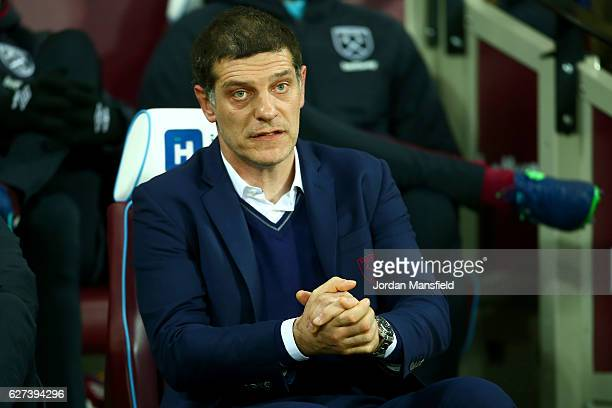 Slaven Bilic manager of West Ham looks on before the Premier League match between West Ham United and Arsenal at London Stadium on December 3 2016 in...