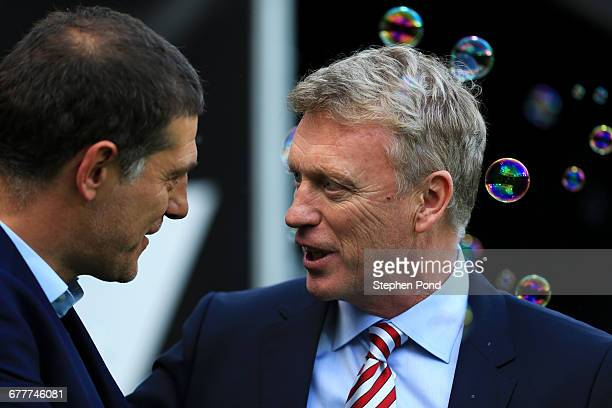 Slaven Bilic Manager of West Ham United and David Moyes Manager of Sunderland greet prior to the Premier League match between West Ham United and...