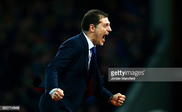 Slaven Bilic Manager of West Ham United celebrates after Andy Carroll of West Ham United scores his side's second goal during the Barclays Premier...