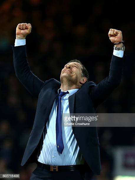 Slaven Bilic Manager of West Ham United celebrates at the final whistle during the Barclays Premier League match between West Ham United and...