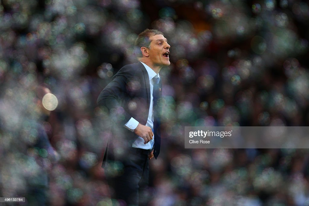 Slaven Bilic manager of West Ham United gestures during the Barclays Premier League match between West Ham United and Everton at Boleyn Ground on November 7, 2015 in London, England.